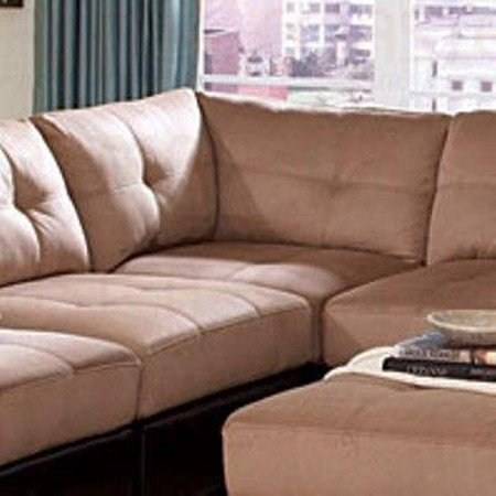 Sectional sofa with button tufted design brown microfiber for Coaster sectional sofa with button tufted design brown microfiber