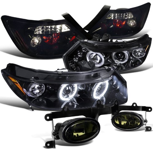 Honda Civic 2Dr Glossy Black Halo Led Headlights, Tail Lamps, Smoked Fog Lights