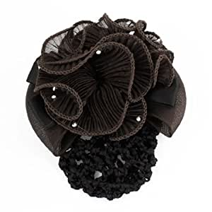Rosallini Rhinestone Decor Brown Flower Designed Snood Net Barrette Hair Clip