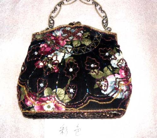 NWT Vintage Desgin Beaded Floral Purse Bridal Accessories Satin Handbag Evening Purse Mini Bag Wedding Clutch Holiday Birthday Gift Bea094-black