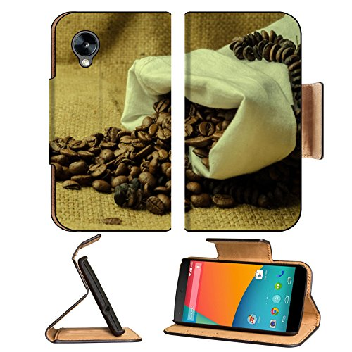 Coffee Beans In Burlap Sack 3Dcom Nexus 5 Flip Cover Case With Card Holder Customized Made To Order Support Ready Premium Deluxe Pu Leather