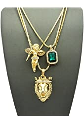 Faux Emerald Stone, Floating Angel & King Lion Pendant Set w/ Multi Length Box Chains in Gold-Tone