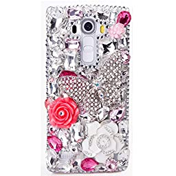 LG G Stylo Case, Sense-TE Luxurious Crystal 3D Handmade Sparkle Diamond Rhinestone Clear Cover with Retro Bowknot Anti Dust Plug - Big Butterfly Camellia Flowers / White