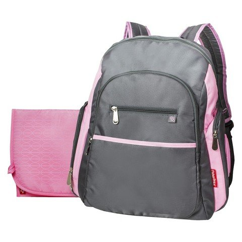 Fisher-Price Ripstop Diaper Bag Backpack - Grey/Pink - 1