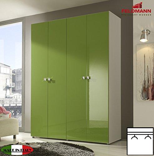 Kleiderschrank Schlafzimmerschrank 55017 4-türig weiß / kiwi grün Hochglanz 159cm