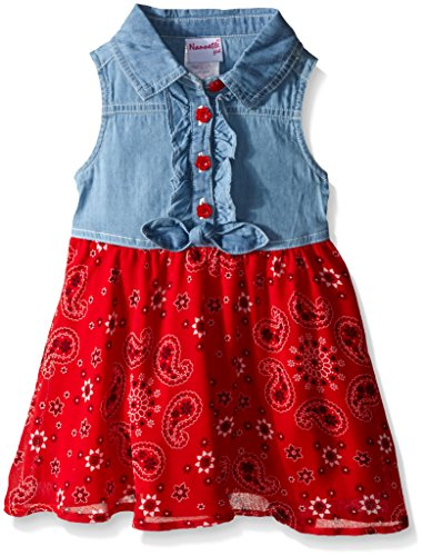 Nannette Little Girls Tie Front Chambray Top And Chiffon Skirt, Blue/Red, 3T