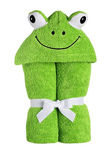 Yikes Twins Child Hooded Towel - Green Frog