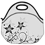 Snoogg Seamless Floral Pattern Abstract Background Travel Outdoor Carry Lunch Bag Picnic Tote Box Container Zip Out Removable Carry Lunchbox Handle Tote Lunch Bag Food Bag For School Work Office