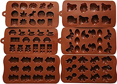 Candy Molds, Chocolate Molds, Silicone Molds, Soap Molds, Silicone Baking Molds-6pc Set- Dinosaur,Happy Faces,robots,bunny,figures,fruits, Kids Toys