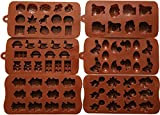 6pc Candy Molds, Chocolate Molds, Silicone Molds, Soap Molds, Silicone Baking Molds-6pc Value Set- Dinosaur,happy Faces,robots,bunny,figures,fruits, Kids Toys (Set of 6)