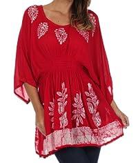Sakkas Embroidered Batik Gauzy Cotton Tunic Blouse