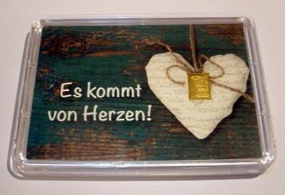 """1g Goldbarren 999,9 Feingold in Motivbox """"Es kommt von Herzen"""""""