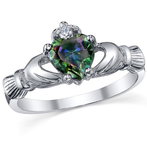 Amazon Rainbow Topaz Claddagh Ring