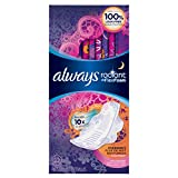 Always Radiant Overnight Feminine Pads with Wings, Scented, 22 Count - Pack of 3 (66 Total Count) (Package May Vary)