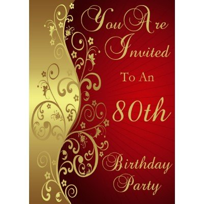 80th Birthday Party Personalized Invitation 10 Pack Review