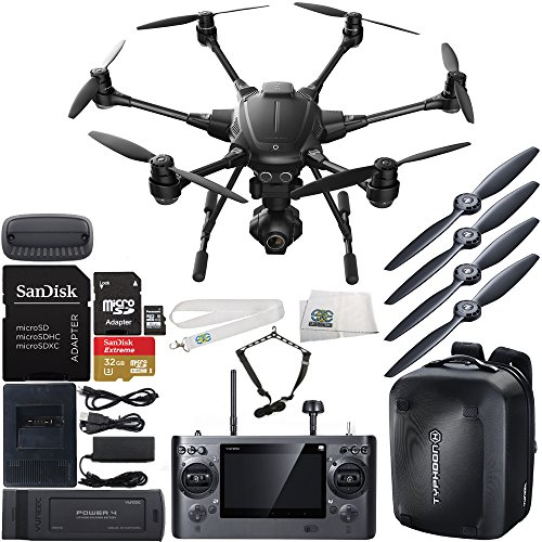 YUNEEC Typhoon H Hexacopter with GCO3+ 4K Camera & Manufacturer Accessories + YUNEEC Typhoon H Hardshell Backpack + SanDisk Extreme 32GB microSDHC Card with Adapter + MORE