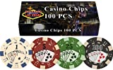 100 11.5 gram Dice Straight Flush Poker Chips in Las Vegas Gift Box