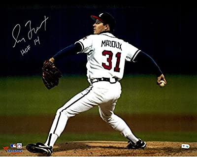 "Greg Maddux Atlanta Braves Autographed 16"" x 20"" Horizontal White Uniform Photograph with HOF 2014 Inscription - Fanatics Authentic Certified"