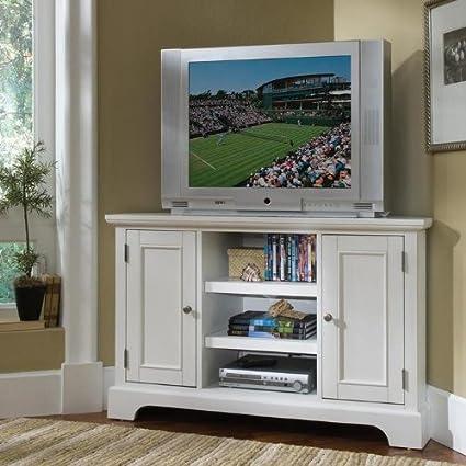 "Naples Corner TV Stand (White / Brown) (32""H x 49.5""W x 20""D)"