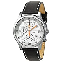 Seiko White Dial Black Leather Chronograph Mens Watch SNDE11