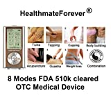 FDA cleared HealthmateForever 8 modes Tens electrotherapy machine device unit, best muscle stimulator HM8G silver color