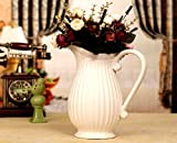 Beautiful Large White Porcelain Fluted Pitcher or Vase for Home