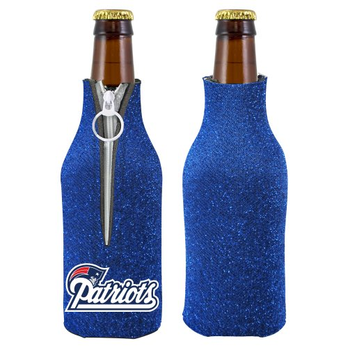 Nfl 2012 Football Team Logo Womens Ladies Glitter Beer Bottle Holder Koozie Cooler - All 32 Teams Avaialble! (New England Patriots) front-959308