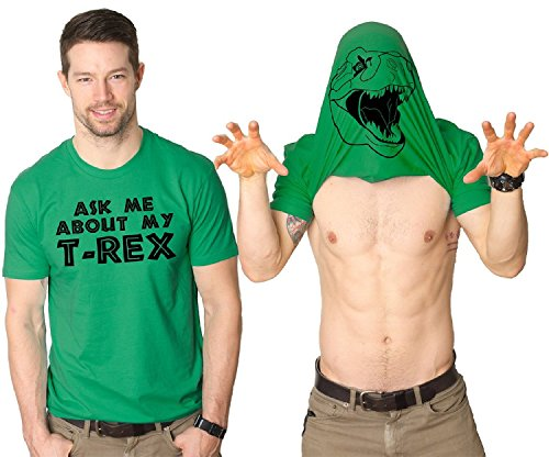 Premium Ask Me My About T-Rex T-Shirt a magliette, motivo: Trex verde medium