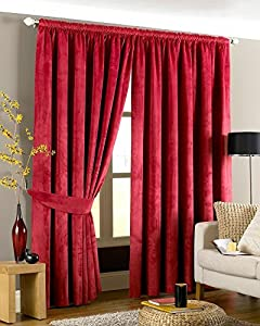 Luxurious Red Heavyweight Velvet 90x90 Lined Pencil Pleat Curtain Drapes by Curtains