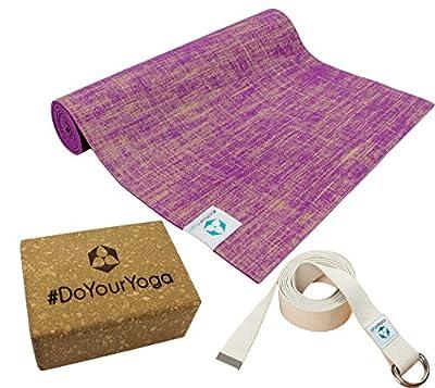 Yogaset : Yogamatte aus Jute/PVC 183x61x0,5cm (viollett) inklusive Baumwoll - Yogagurt und Korkblock