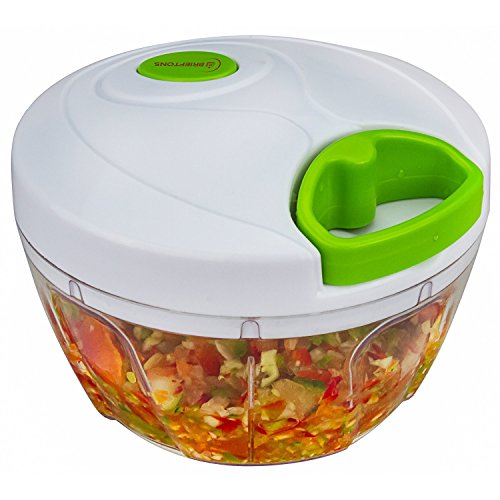 Brieftons Manual Food Chopper: Compact & Powerful Hand Held Vegetable Chopper / Mincer / Blender to Chop Fruits, Vegetables, Nuts, Herbs, Onions, Garlics for Salsa, Salad, Pesto, Coleslaw, Puree (Onion And Vegetable Chopper compare prices)