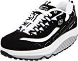 Skechers Women's Shape Ups - Strength Wide Fitness Work Out Sneaker,Black/White,9.5 W US