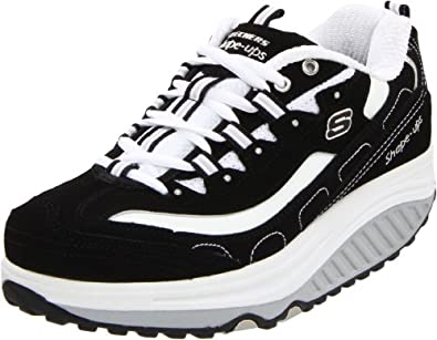 Skechers Women's Shape Ups - Strength Fitness Walking Shoe,Black/White,5.5 M US