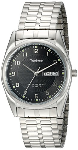 Armitron Men's 201143BKSV Casual Silver-Tone Expansion Band Easy to Read Black Dial Watch