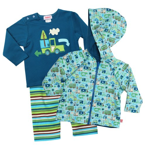 Today Sale Zutano Baby-Boys Infant Truckin Long Sleeve Screen Tee Pant and Rev Hoodie Set, Multi, 6 Months  Best Offer
