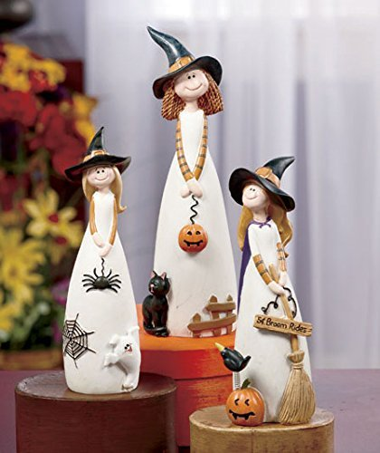 3 Pc. Friendly Witch Figurine Set Table Top Accent Fall Autumn Halloween Decoration (Halloween Tabletop)