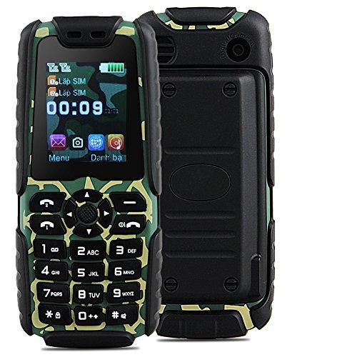Padgene Outdoor SOS Handy Große Tasten Mobiltelefon Super Lang Standbyzeit Ohne Vertrag Blockhandy für Alter Senior mit Taschenlampe Kamera (LR-Grün)