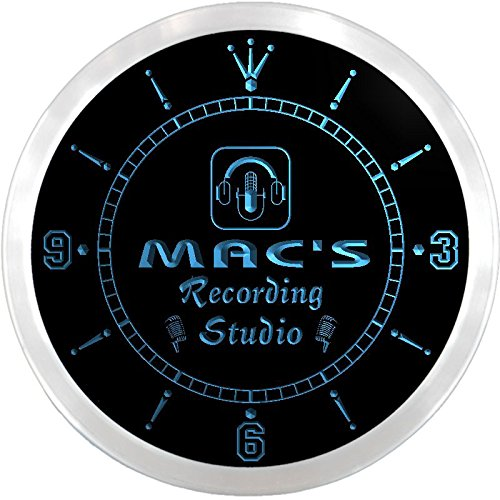 Ncqm1000-B Mac'S Recording Studio On Air Microphone Bar Beer Led Neon Sign Wall Clock