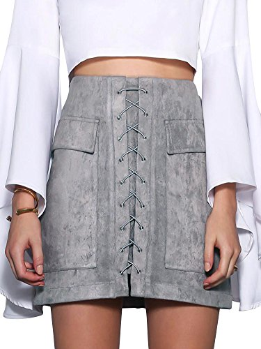 simplee-apparel-womens-lace-up-faux-suede-leather-a-line-mini-skirt-with-pockets-grey