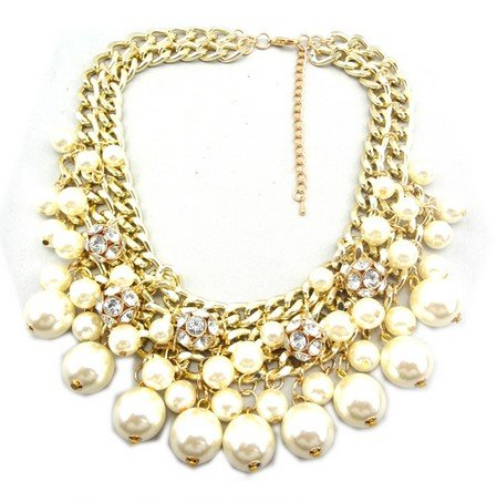 Wiipu white Rhinestone Layered Cluster Ball Beads Drop Chunky Statement Bib Necklace(wp-38)