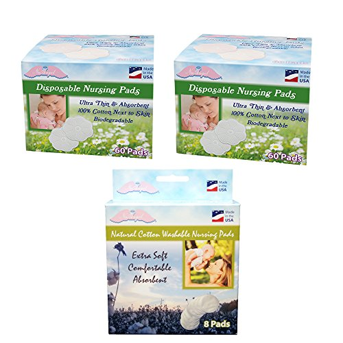 NuAngel All-Natural Washable and Disposable Cotton Nursing Pad Set - 1