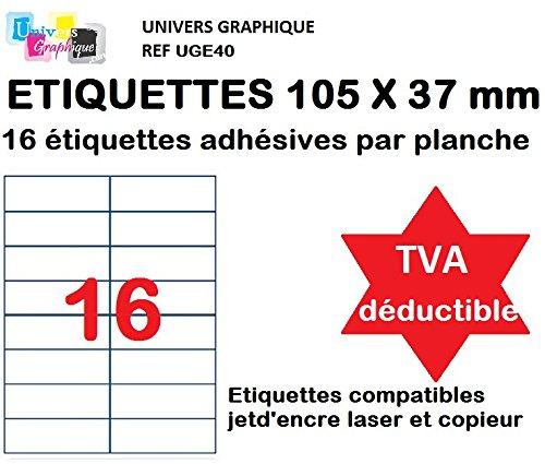 8000 Etiquettes autocollantes 105 x 37 mm soit 500 Feuilles A4 de 16 étiquettes multi-usage 105x37.1 mm compatible jet d'encre, laser et copieur - TVA DÉDUCTIBLE contrairement à certains vendeurs (auto entrepreneurs) -Marque UNIVERS GRAPHIQUE REF UGE162