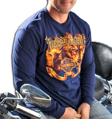 Harley-Davidson® Mens Flame Eagle/Wolf Navy Long Sleeve T-Shirt (2X)