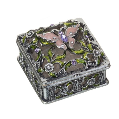 Prinz Secret Garden Jewelry Box, Antique Silver Finish with Enamel Inlay and Jewels