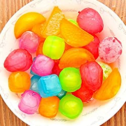 SahiBUY 18 Pieces Plastic Ice Cubes Fruit Shaped Assorted Cool Cold Drinks Bar Reusable