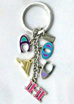 Coach Letters Multi Mix Key Chain Fob Ring Multi