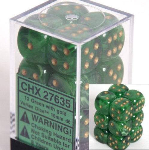 Chessex Dice d6 Sets: Vortex Green with Gold - 16mm Six Sided Die (12) Block of Dice
