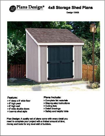 Slant lean to roof style storage shed plans 4 39 x 8 for Barn style storage building plans