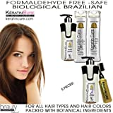 KERATIN CURE FORMALDEHYDE FREE BRAZILIAN BIOLOGICAL TREATMENT CHOCOLATE MAX STRAIGHTENING HAIR & REPAIR FOUR PIECES KIT 300 ML/10.14 OZ SAFE FOR KIDS- LIQUID FORMULA