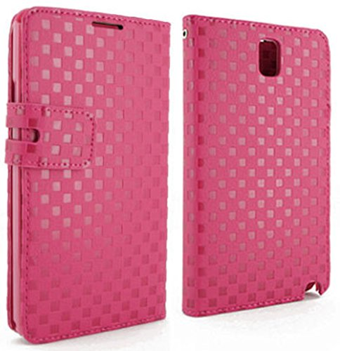 Mylife French Rose Pink Woven Pattern {Luxury Design} Faux Leather (Card, Cash And Id Holder + Magnetic Closing) Slim Wallet For Galaxy Note 3 Smartphone By Samsung (External Textured Synthetic Leather With Magnetic Clip + Internal Secure Snap In Closure front-338381